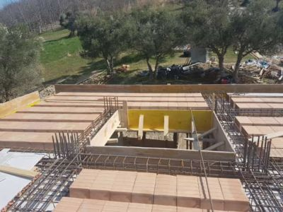 Poroton With Stairway Opening at a new house structural build in Le Marche