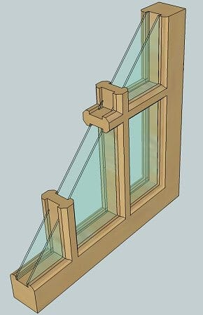 Drawing of true divided light window