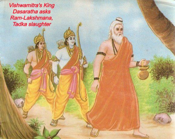 Vishwamitra's King Dasaratha asks Ram-Lakshmana, Tadka slaughter