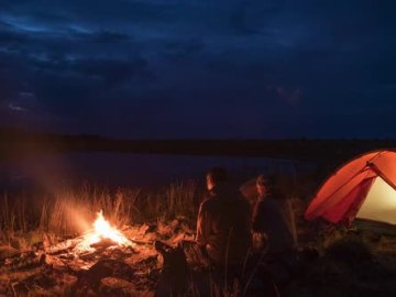 Tent camping couple