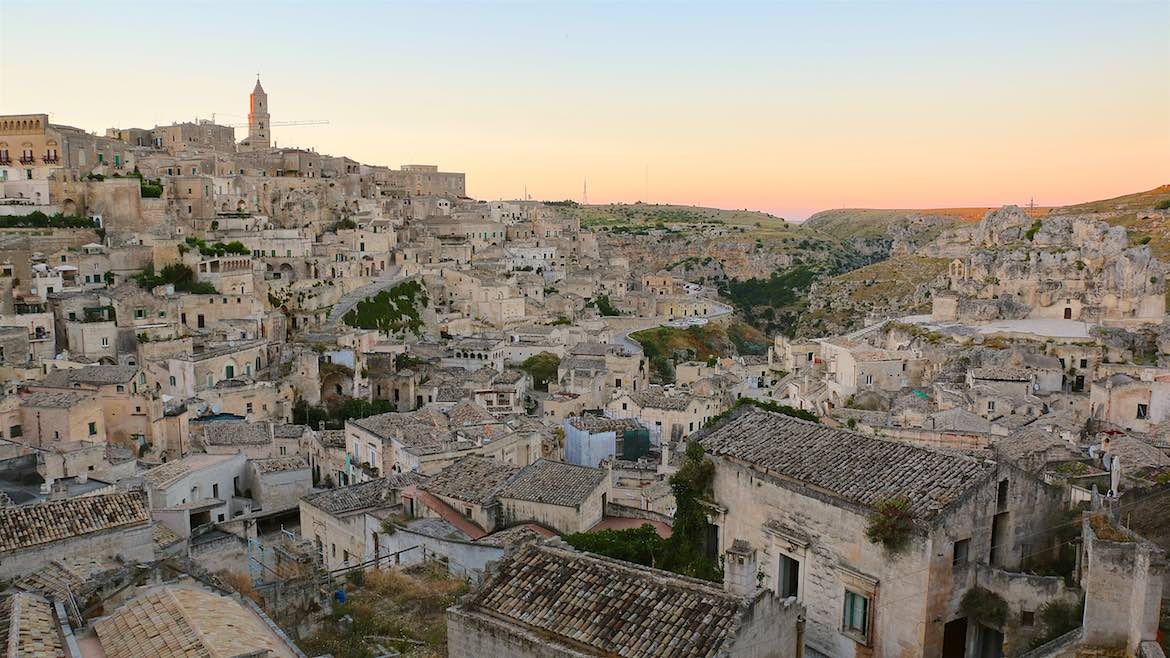 Sun goes down in The backside of Matera.