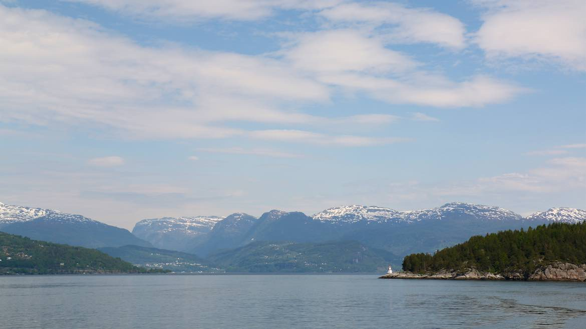 View of fjord as we sail from Jondal