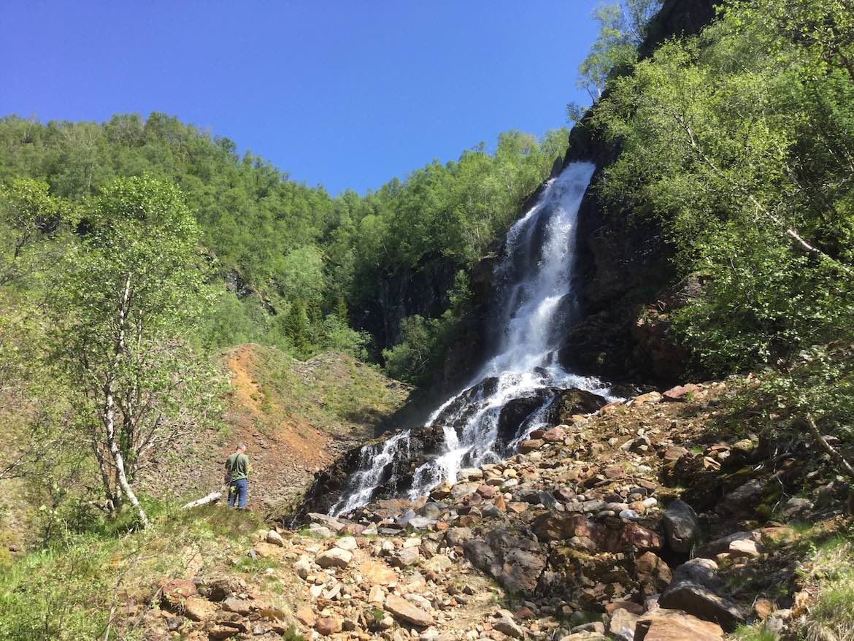 Craig admiring 1 of the many waterfalls
