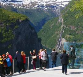 We join the tourist trail at Geiranger