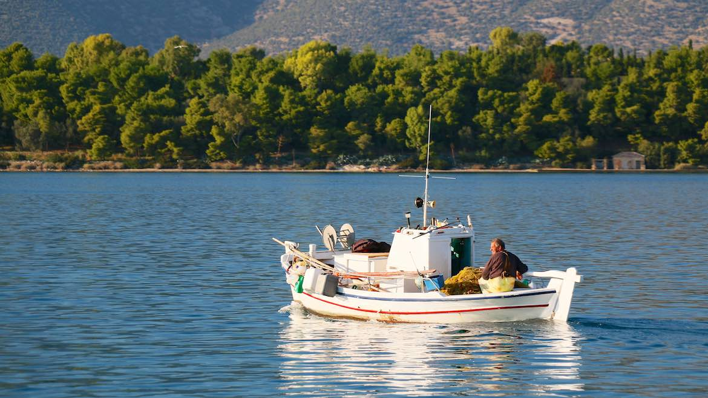 Fishing boat on Koilada bay