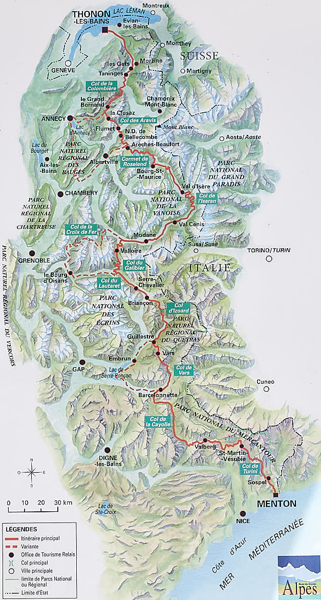 map of alps passes