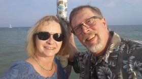 Tourists at southernmost point in Key West, FL