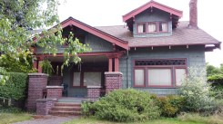 Green Craftsman bungalow in Seattle