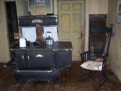Large cast iron stove in kitchen of Olson House