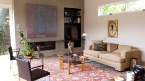 Living room with fireplace and modern furnishings