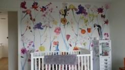 Floral mural in nursery