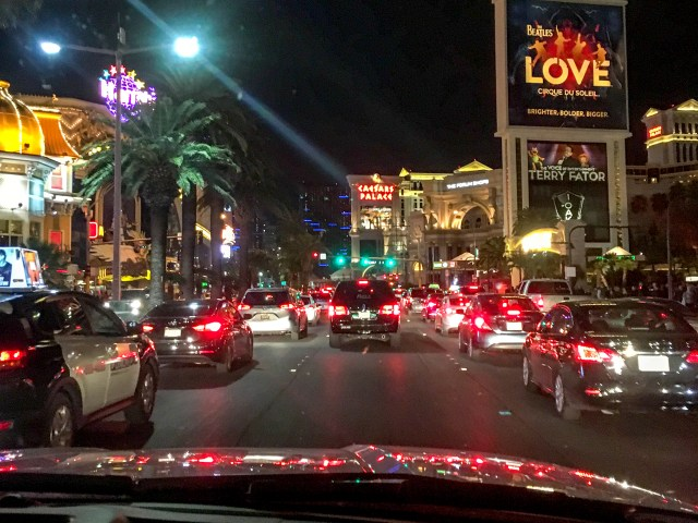 Bumper to bumper traffic on the strip
