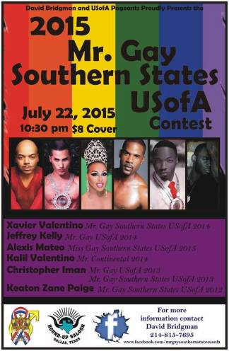 Show Ad | Mr. Gay Southern States USofA | Round-Up Saloon (Dallas, Texas) | 7/22/2015