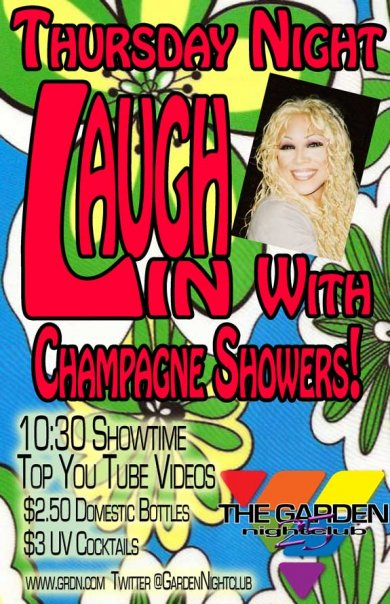 Show Ad | Thursday Night Laugh In With Champagne Showers! | Garden Nightclub (Des Moines, Iowa) | 10/15/2009