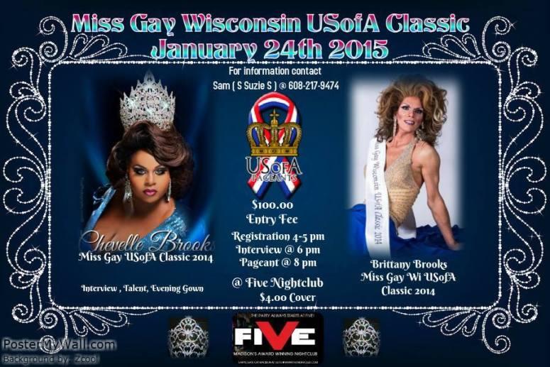 Show Ad | Miss Gay Wisconsin USofA Classic | Five Nightclub (Madison, Wisconsin) | 1/24/2015