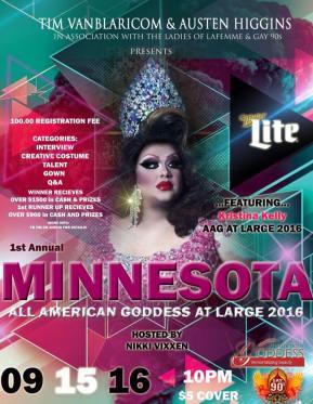 Show Ad   Minnesota All American Goddess at Large   Gay 90's (Minneapolis, Minnesota)   9/15/2016
