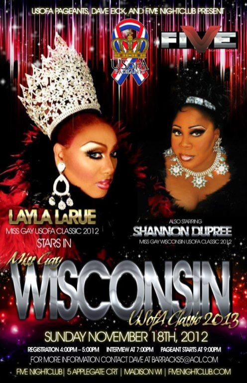 Show Ad   Miss Gay Wisconsin USofA Classic   Five Nightclub (Madison, Wisconsin)   11/18/2012