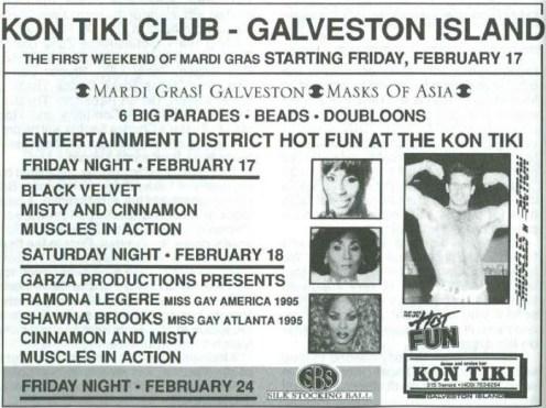 Show Ad | Kon Tiki Club (Galveston Island, Texas) | 2/17-2/24/1995