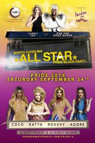 Show Ad | North Carolina All Star Pride Block Party | The Bar Durham (Durham, North Carolina) | 9/24/2016
