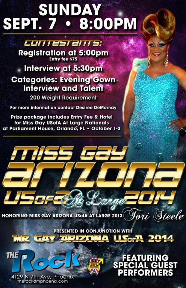 Show Ad | Miss Gay Arizona USofA at Large | The Rock (Phoenix, Arizona) | 9/7/2014