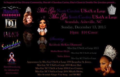 Show Ad   Miss Gay North Carolina USofA at Large and Miss Gay South Carolina USofA at Large   Scandals (Asheville, North Carolina)   12/13/2015