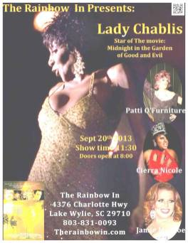 Show Ad | Lady Chablis | Rainbow In (Lake Wylie, South Carolina) | 9/20/2013