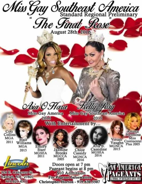 Show Ad | Miss Gay South East America | Lincoln Theatre (Raleigh, North Carolina) | 8/28/2016