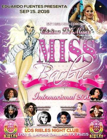 Show Ad | Miss Barbie International | Los Rieles Night Club (Dallas, Texas) | 9/15/2016