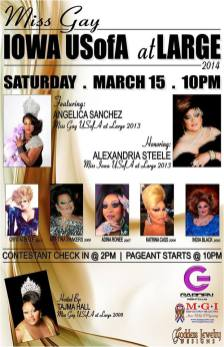 Show Ad | Miss Gay Iowa USOfA at Large | Garden Nightclub (Des Moines, Iowa) | 3/15/2014