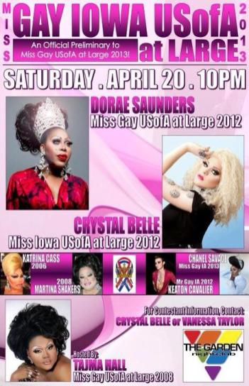 Show Ad   Miss Gay Iowa USofA at Large   Garden Nightclub (Des Moines, Iowa)   4/20/2013