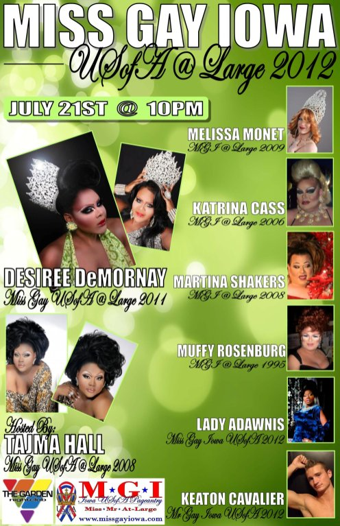 Show Ad | Miss Gay Iowa USofa at Large | Garden Nightclub (Des Moines, Iowa) | 7/21/2012