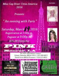 Show Ad   Miss Gay River Cities America   Pink (Monroe, Louisiana)   3/19/2016