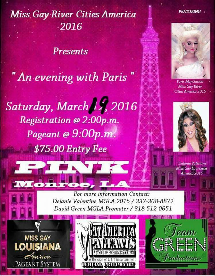 Show Ad | Miss Gay River Cities America | Pink (Monroe, Louisiana) | 3/19/2016