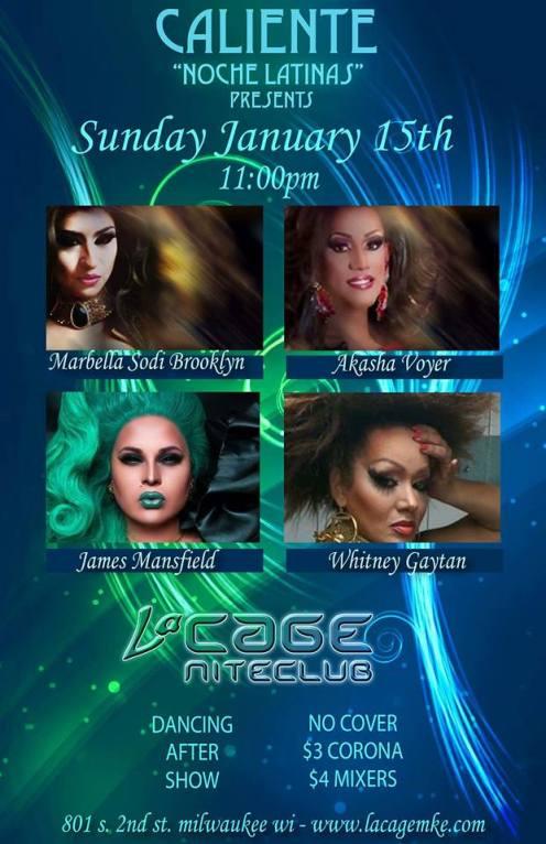 Show Ad | LaCage Nite Club (Milwaukee, Wisconsin) | 1/15/2017
