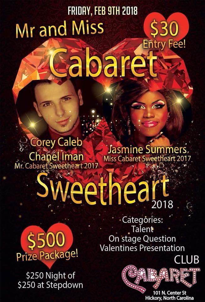 Show Ad | Mr. and Miss Cabaret Sweetheart | Club Cabaret (Hickory, North Carolina) | 2/9/2018