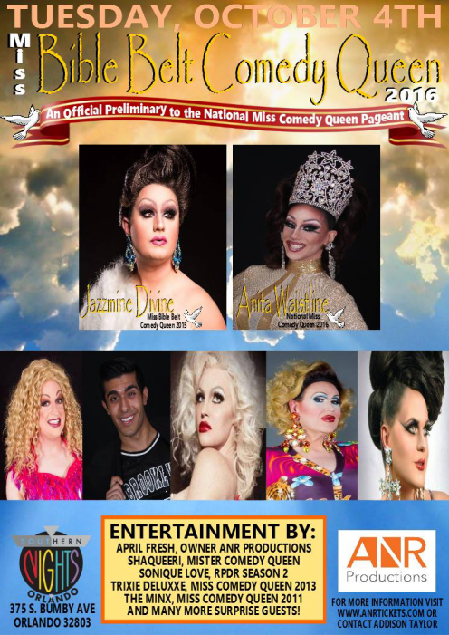 Show Ad | Miss Bible Belt Comedy Queen | Southern Nights (Orlando, Florida) | 10/4/2016