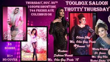 Show Ad | Thotty Thursday | Toolbox Saloon (Columbus, Ohio) | 11/30/2017