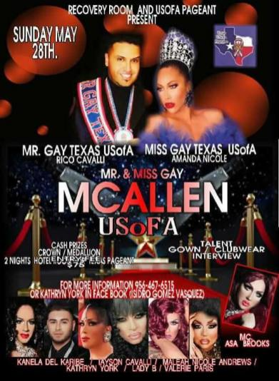 Show Ad | Mr. and Miss Gay McAllen USofA | Recovery Room Lounge (McAllen, Texas) | 5/28/2017