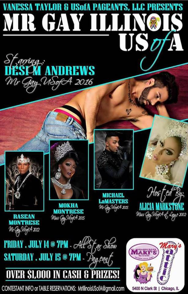 Show Ad | Mr. Gay Illinois USofA | Hamburger Mary's and Mary's Attic (Chicago, Illinois) | 7/14-7/15/2017