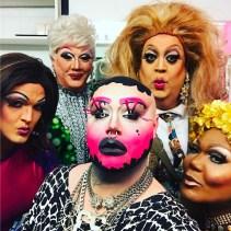 Back Row: Hellin Bedd and Candi Panties. Front Row: Sandy Von Lipshitz, Krystal Something-Something and Bianca Debonair