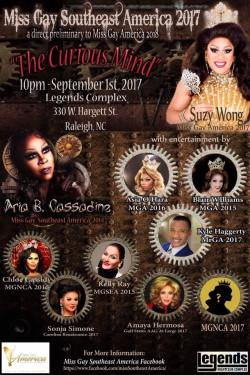 Show Ad | Miss Gay South East America | Legends Complex (Raleigh, North Carolina) | 9/1/2017