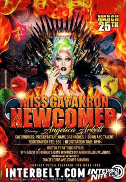 Show Ad | Miss Gay Akron Newcomer | Interbelt Nite Club (Akron, Ohio) | 3/25/2018