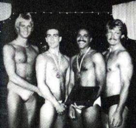 """We Are Family"" - Masculine excellence gathers at the fourth annual Mr. Gay All-American Contest in July 1986 at the Old Plantation in Dallas, as the first three national titleholders welcome the newest member to their brotherhood. From left: MGAA 1985 Keith Mitchell; MGAA 1986 Ered Matthew; MGAA 1987 Medwin Johnson; and MGAA 1984 Ron East."