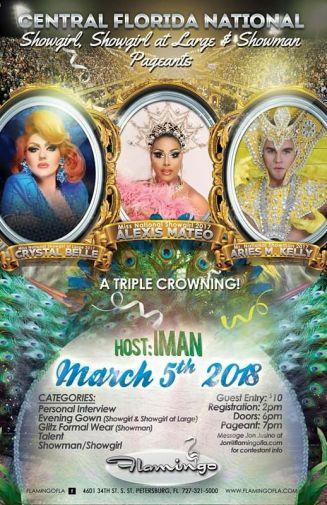 Show Ad | Central Florida National Showgirl, Central Florida National Showgirl at Large and Central Florida National Showman | Flamingo (St. Petersburg, Florida) | 3/5/2018