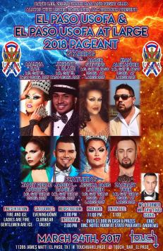 Show Ad | El Paso USofA and El Paso USofA at Large Pageants | Touch Bar (El Paso, Texas) | 3/24/2018 [NOTE: Poster printed with incorrect year]