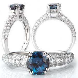 115138-100al Round Chatham Alexandrite Engagement Ring