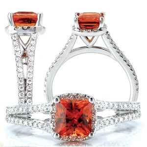 Cushion cut Chatham padparadscha engagement ring