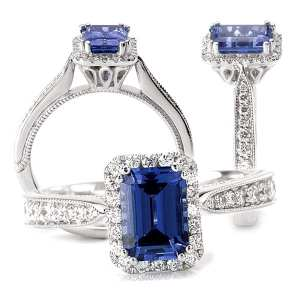 117223-100bs Emerald cut Chatham blue sapphire engagement ring