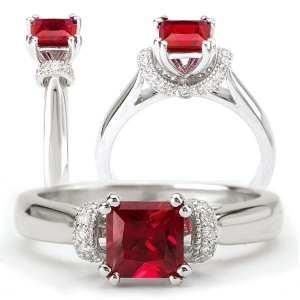 Chatham lab-grown princess cut ruby engagement ring