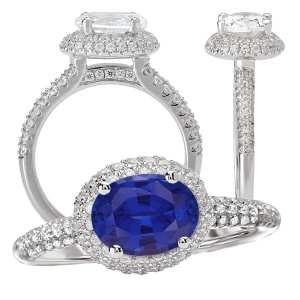 117325-100bs Oval Chatham Blue Sapphire Engagement Ring